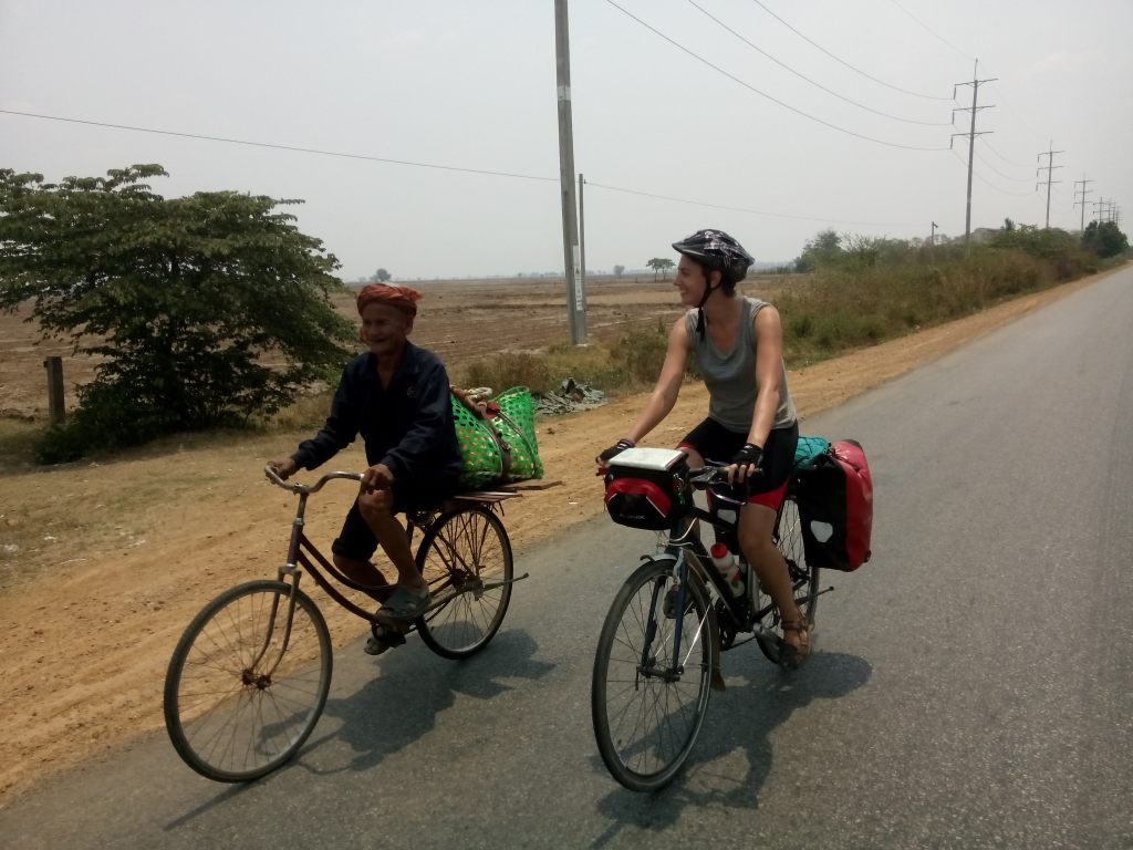 Two people on bicycles