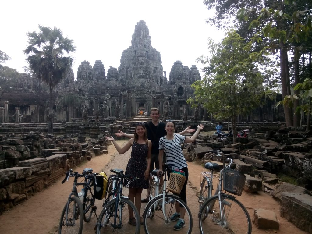 George, Rach and Alex with bikes at Bayon