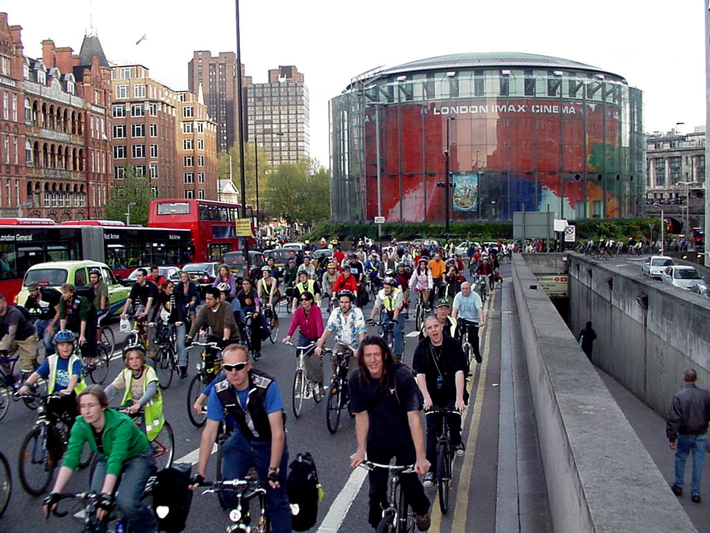 Critical Mass riders over Waterloo Bridge