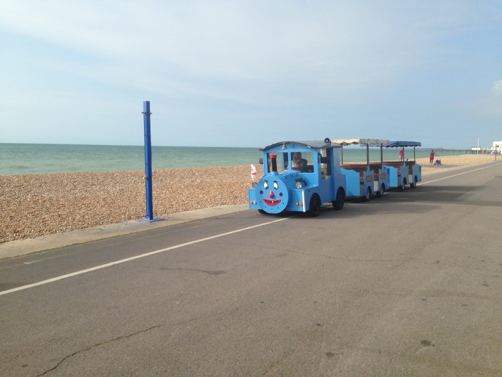 A blue and groggy looking promenade train